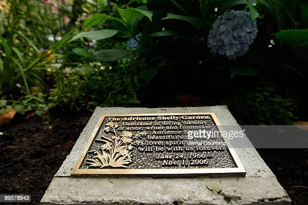 The plaque dedicated in memory of Adrienne Shelly at the Adrienne Shelly Memorial Garden dedication ceremony at Abingdon Square Park on August 3 2009...