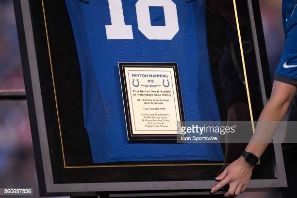 The plaque for the retired jersey of Peyton Manning during the NFL game between the San Francisco 49ers and Indianapolis Colts on October 8 at Lucas...