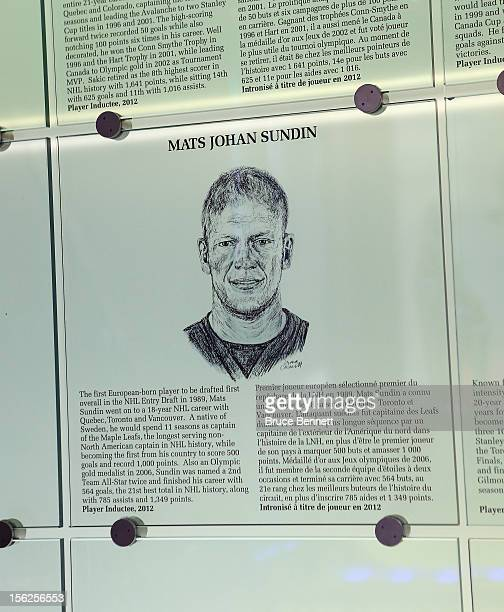 The plaque honoring Mats Sunind's induction into the Hockey Hall of Fame is in place prior to this evening's induction ceremony on November 12 2012...