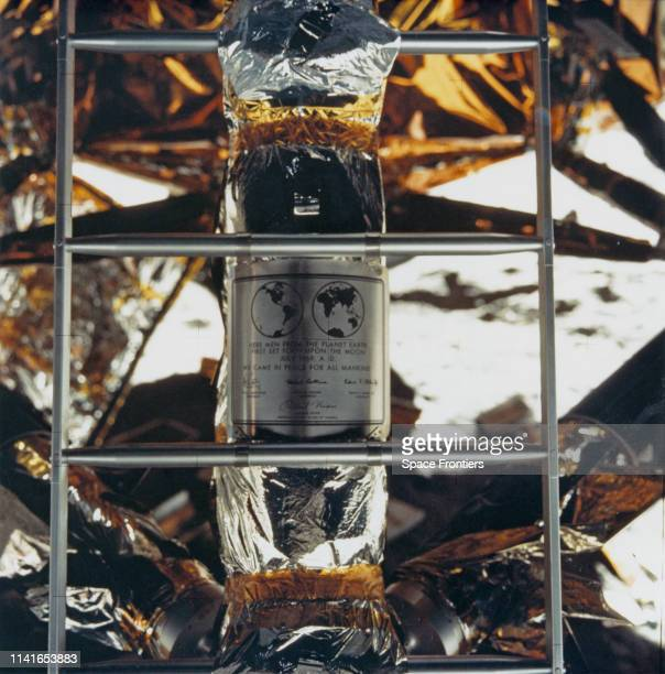 The plaque left on the Moon by the astronauts of NASA's Apollo 11 lunar landing mission 20th July 1969 The plaque is attached to the ladder on the...