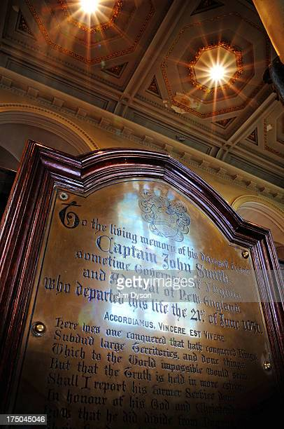 The plaque marking the last resting place of Captain JOHN SMITH at St Sepulchre Without Newgate Church in Holborn on September 2 2008 in London...