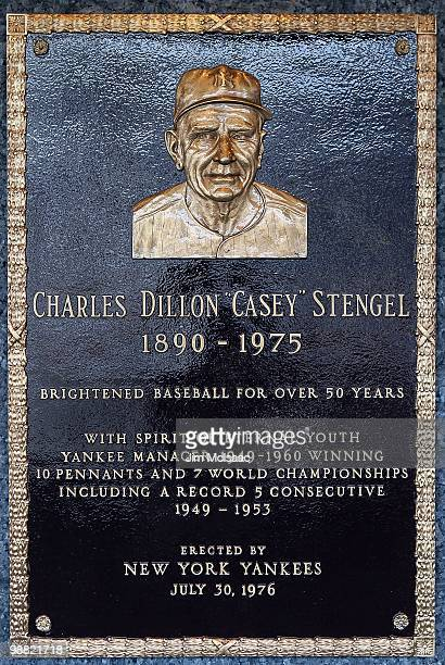 The plaque of Casey Stengel is seen in Monument Park at Yankee Stadium prior to the game between the New York Yankees and the Chicago White Sox on...