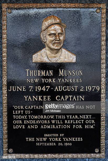 The plaque of Thurman Munson is seen in Monument Park at Yankee Stadium prior to game between the New York Yankees and the Chicago White Sox on May...