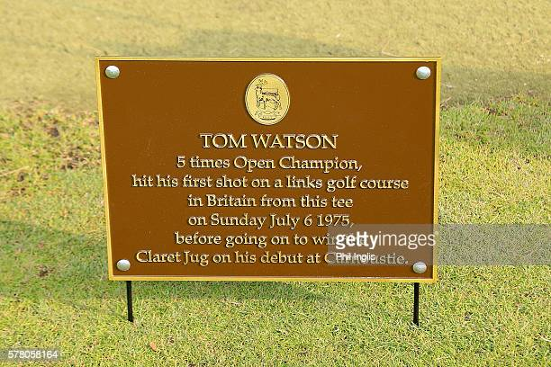 The plaque on the 1st tee at Monifieth links to commemorate Tom Watson's 1st tee shot on a links course in Great Britain during the Senior Open...