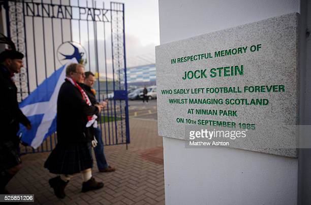 The plaque remembering former Scotland manager Jock Stein who died at the Wales v Scotland football match at Ninian Park on 10th September 1985