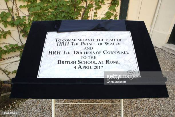 The plaque that was unveiled by Prince Charles Prince of Wales and Camilla Duchess of Cornwall is on display at The British School on April 4 2017 in...