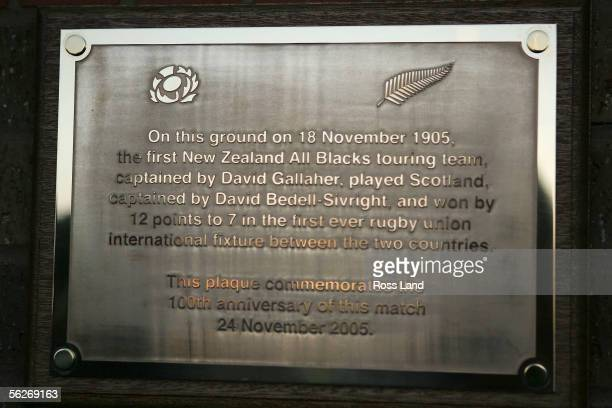 The plaque unveiled by New Zealand All Black captain Tana Umaga and Scotland's Jason White is seen at the site of the first All Blacks V Scotland...