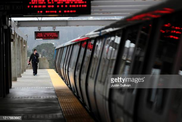 The platform at the Daly City Bay Area Rapid Transit station is deserted on April 08, 2020 in Daly City, California. BART announced that it is...