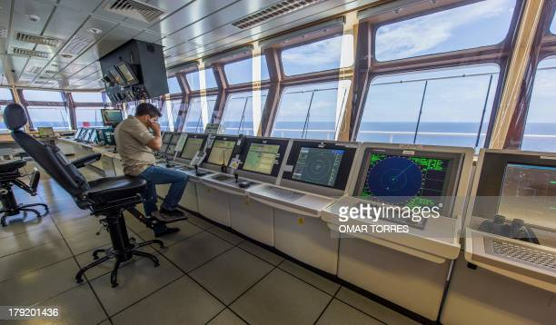The platform's control room of La Muralla IV exploration oil rig operated by Mexican company Grupo R and working for Mexico's stateowned oil company...