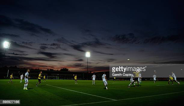 The play as the sunsets during the Sky Bet Championship match between Burton Albion and Derby County at Pirelli Stadium on August 26 2016 in...