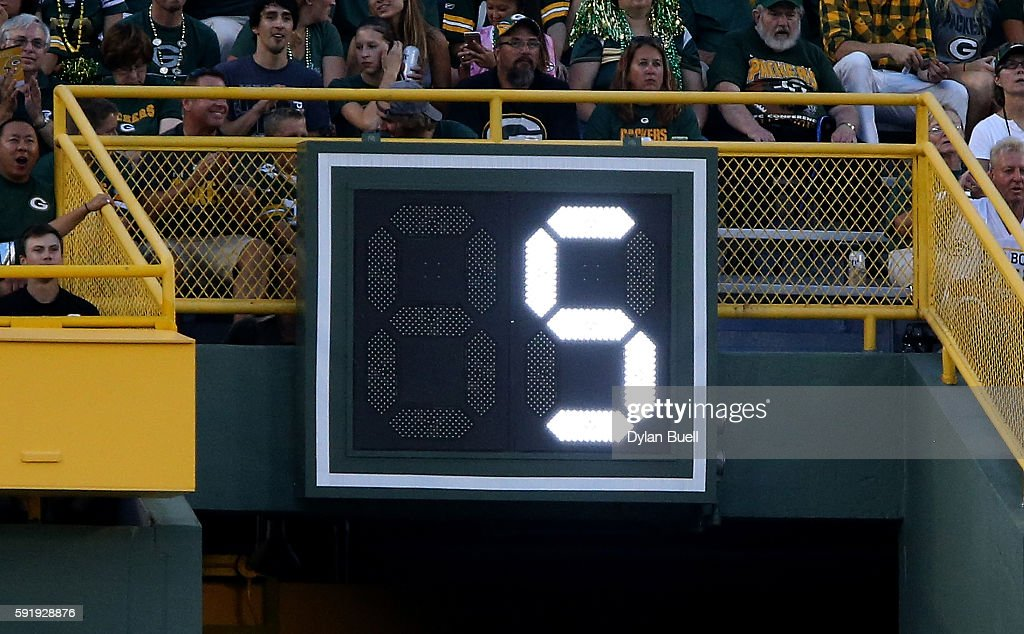 The play clock counts down during the first quarter of a preseason game between the Oakland Raiders and Green Bay Packers at Lambeau Field on August 18, 2016 in Green Bay, Wisconsin.