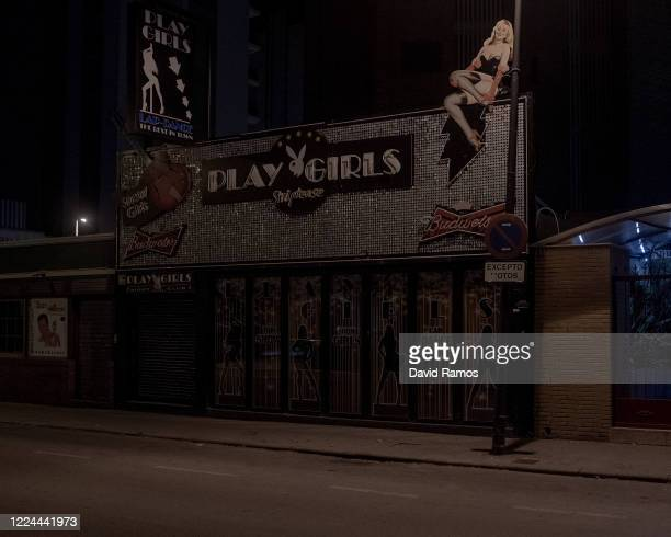 The Play Girls Striptease club remains closed at El Rincon de Loix nightlife area on May 11 2020 in Benidorm Spain Pubs Sport Bars and Nightclubs...