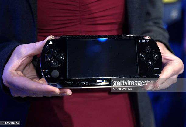 The Play Station Portable a handheld video game system is displayed for the media during their press conference May 11 2004 during Electronic...
