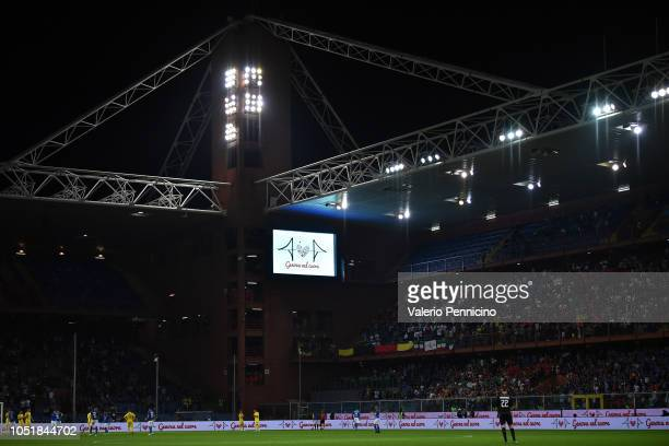 The play stops on the 43rd minute of the game in homage to the 43 victims of the August 14 2018 Morandi bridge collapse in Genoa during the...