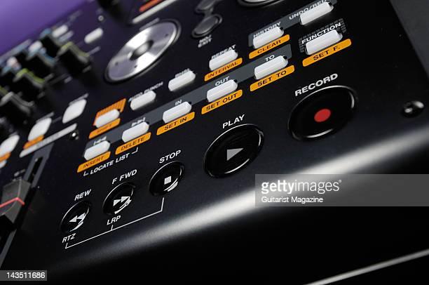 The playback control buttons of a Tascam DP02CF Digital Portastudio personal studio recorder during a studio shoot for Guitarist Magazine April 1 2008
