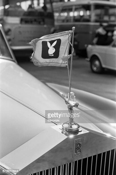 The Playboy logo on a car ahead of the arrival of Hugh Hefner, the 40 year old Editor Publisher of Playboy Magazine and President of Playboy Clubs...