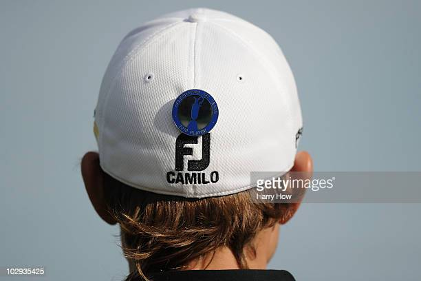 The player badge of Camilo Villegas of Colombia is seen on his cap during the second round of the 139th Open Championship on the Old Course St...