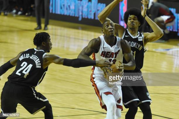 the player Bam Adebayo of the team Miami Heat is seen in action during the match of NBA between of Miami Heat and Brooklyn Nets on December 09 2017...