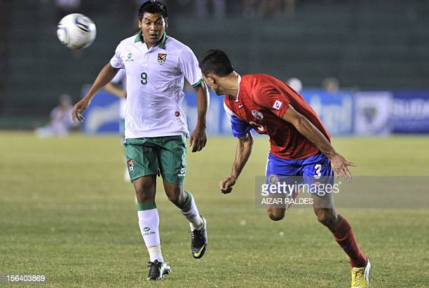 The player Giancarlos Gonzales de Costa Rica mark facing Darwin Rios of Bolivia during a friendly match played Ramon Aguilera stadium in the city of...