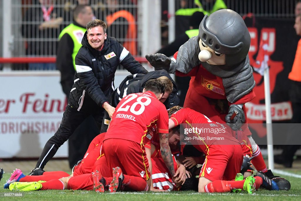 The player of 1 FC Union Berlin celebrate after scoring the 1:0 during the game between 1 FC Union Berlin and 1. FC Nuernberg on March 20, 2017 in Berlin, Germany.