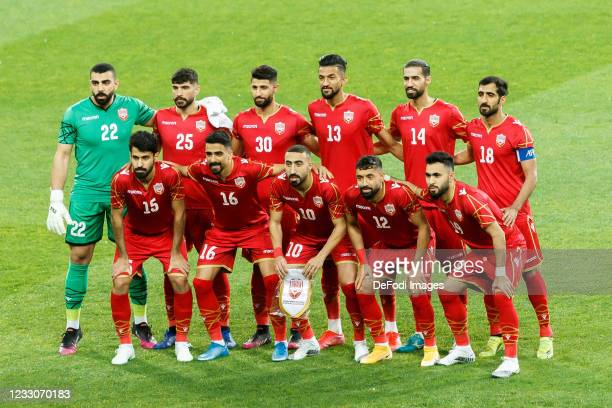 The Player of Bahrain at the Teamphoto prior to the international friendly match between Ukraine and Bahrain at Metalist Stadion on May 23, 2021 in...