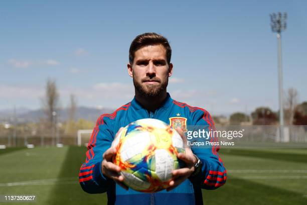The player of the Spanish Soccer Team and Athletic Club Iñigo Martinez poses during an interview with Europa Press in the Spanish Soccer City on...