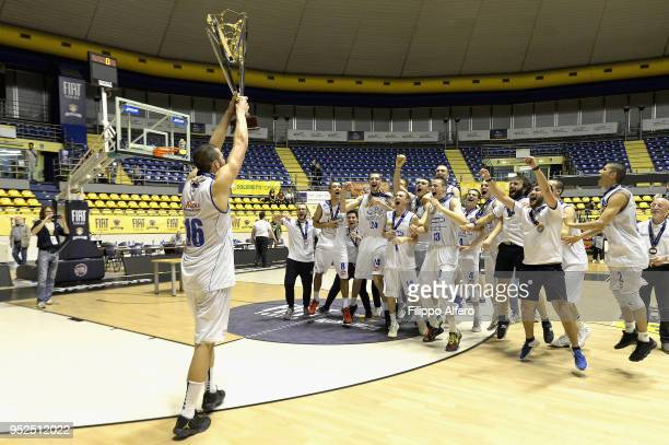 The player of Universo Treviso Under 20 celebrates the victory of the Italian Basketball Championship Under 20 after the final match between Universo...
