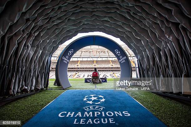 The player tunnel is seen prior to the UEFA Champions League match between Besiktas JK and SL Benfica at Vodafone Arena on November 23 2016 in...