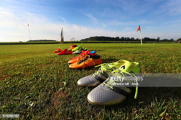 The players Adidas boots laid out before the West Bromwich Albion training session on July 21 2016 in Venlo Netherlands