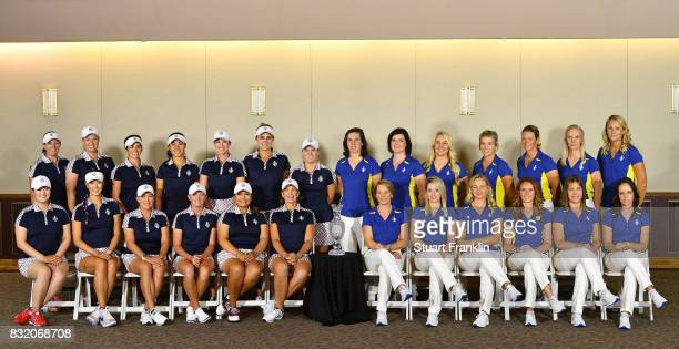The players and Capatins of Tean USA and Team Europe poses together for a picture during the photocall prior to the start of The Solheim Cup at the...
