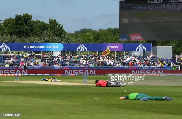 The Players and Match Officials lie on the floor to avoid a swarm of bees during the Group Stage match of the ICC Cricket World Cup 2019 between Sri...