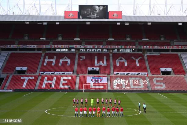 The players and officials from both teams take part in a two minute silence in remembrance of His Royal Highness Prince Philip The Duke of Edinburgh...