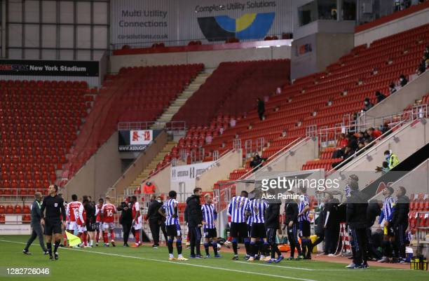 The players are led off the pitch due to a drone flying above the stadium during the Sky Bet Championship match between Rotherham United and...