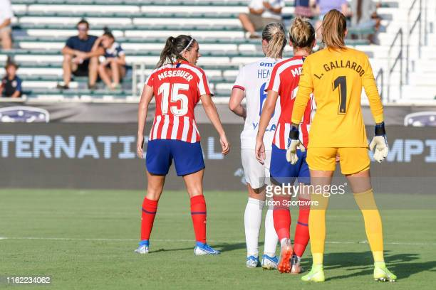 The players await the corner kick during the Women's International Champions Cup soccer match between Olympique Lyonnais v Atletico Madrid on August...