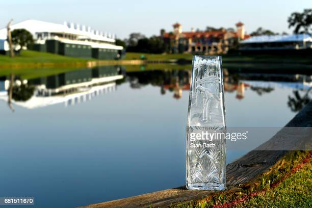 The PLAYERS Championship trophy is seen on the course during previews prior to the start of THE PLAYERS Championship on THE PLAYERS Stadium Course at...