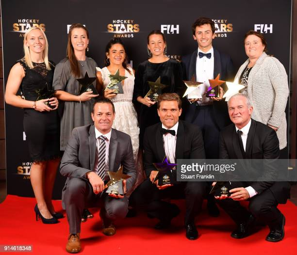 The players coaches and umpires of the year pose with their awards during the Hockey Star Awards night at Stilwerk on February 5 2018 in Berlin...
