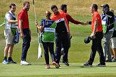 auchterarder scotland players congratulate each other
