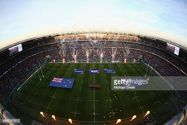 The players enter the field of play ahead of the 2015 Rugby World Cup Final match between New Zealand and Australia at Twickenham Stadium on October...