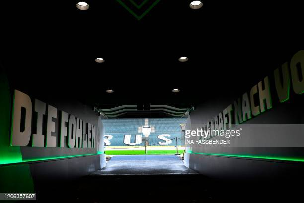 The players' entrance to the pitch is pictured at Borussia-Park football stadium on March 10, 2020 in Mönchengladbach. - Rhine Bundesliga derby...