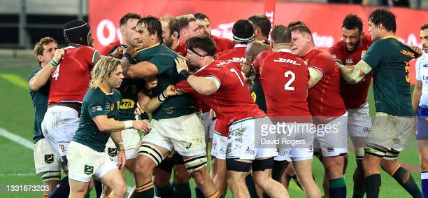The players fight after a challenge on Lions scrumhalf Conor Murray by Cheslin Kolbe during the 2nd test match between South Africa Springboks and...