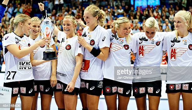 The players from FC Midtjylland celebrating the victory after the Super Cup Final between Viborg HK and FC Midtjylland in Gigantium on August 22 2014...