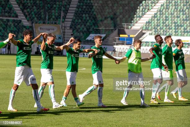 The players from FC St.Gallen 1879 celebrates their victory After the Swiss Raiffeisen Super League match between FC St.Gallen and FC Sion at...