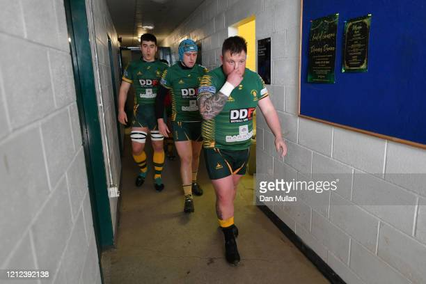 The players from Plymstock Albion Oaks make their way out of the tunnel during the Lockie Cup Semi Final match between Old Plymouthian and...