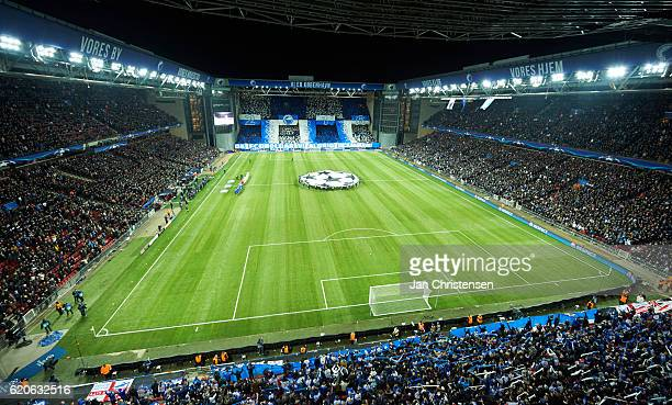 The players lined up prior to the UEFA Champions League match between FC Copenhagen and Leicester City FC at Telia Parken Stadium on November 02 2016...