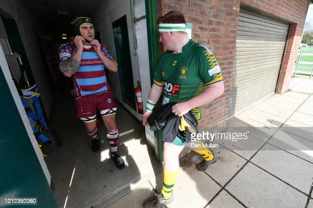 The players make their way out of the tunnel prior to the Lockie Cup Semi Final match between Old Plymouthian and Mannameadians and Plymstock Albion...