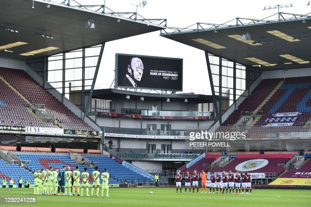 The players observe a 2-minute silence to mark the passing of Britain's Prince Philip, Duke of Edinburgh before kick off of the English Premier...
