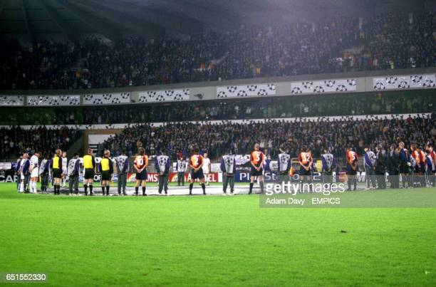 The players observe a minutes silence before the game
