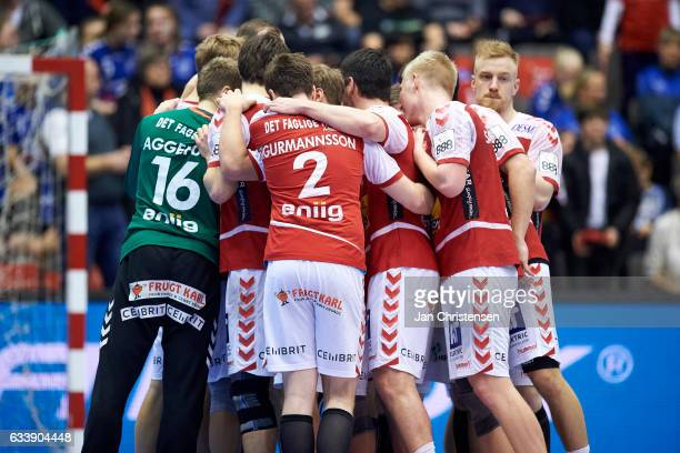 The players of Aalborg Håndbold celebrating in a huddle after the Santander Final4 3 4 place match between KIF Kolding Copenhagen and Aalborg...