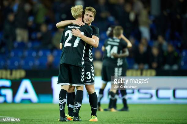 The players of AC Horsens celebrate after the Danish Alka Superliga match between Randers FC and AC Horsens at BioNutria Park Randers on September 29...