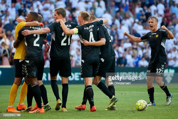 The players of AC Horsens celebrate after the Danish Superliga match between FC Copenhagen and AC Horsens at Telia Parken Stadium on July 16 2018 in...